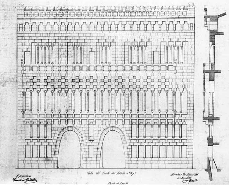 Plan originel ticket Palau Güell.