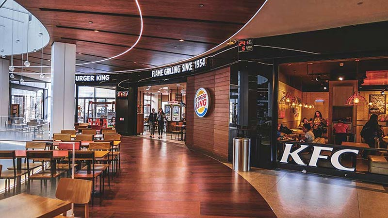 burger king kfc centre commercial diagonal mar