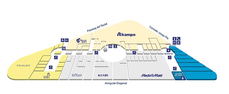 plan centre commercial diagonal mar etage 0