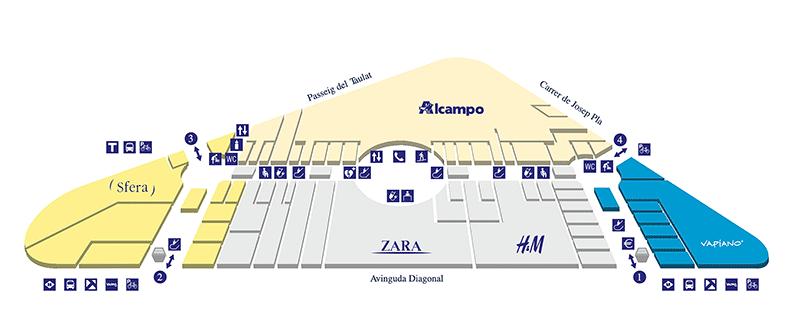 plan centre commercial diagonal mar etage 1