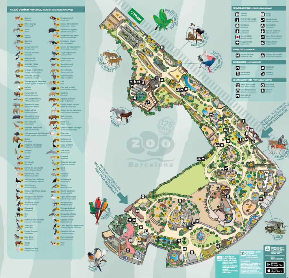 plan du zoo de barcelone