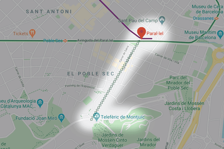 carte plan itineraire funiculaire montjuic