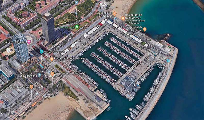 carte itineraire centre plongee sous marine barcelone