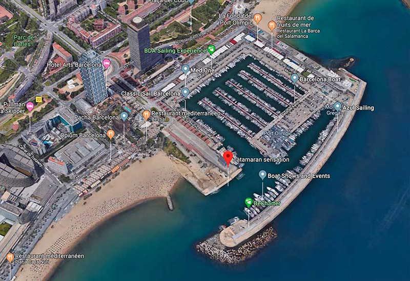 carte itineraire Bateau Catamaran Barcelone