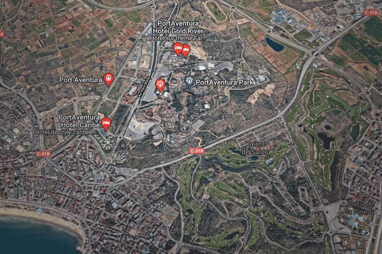 itineraire carte map Port Aventura