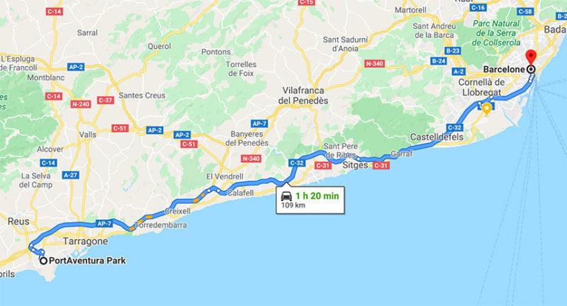 itineraire voiture plan port aventura